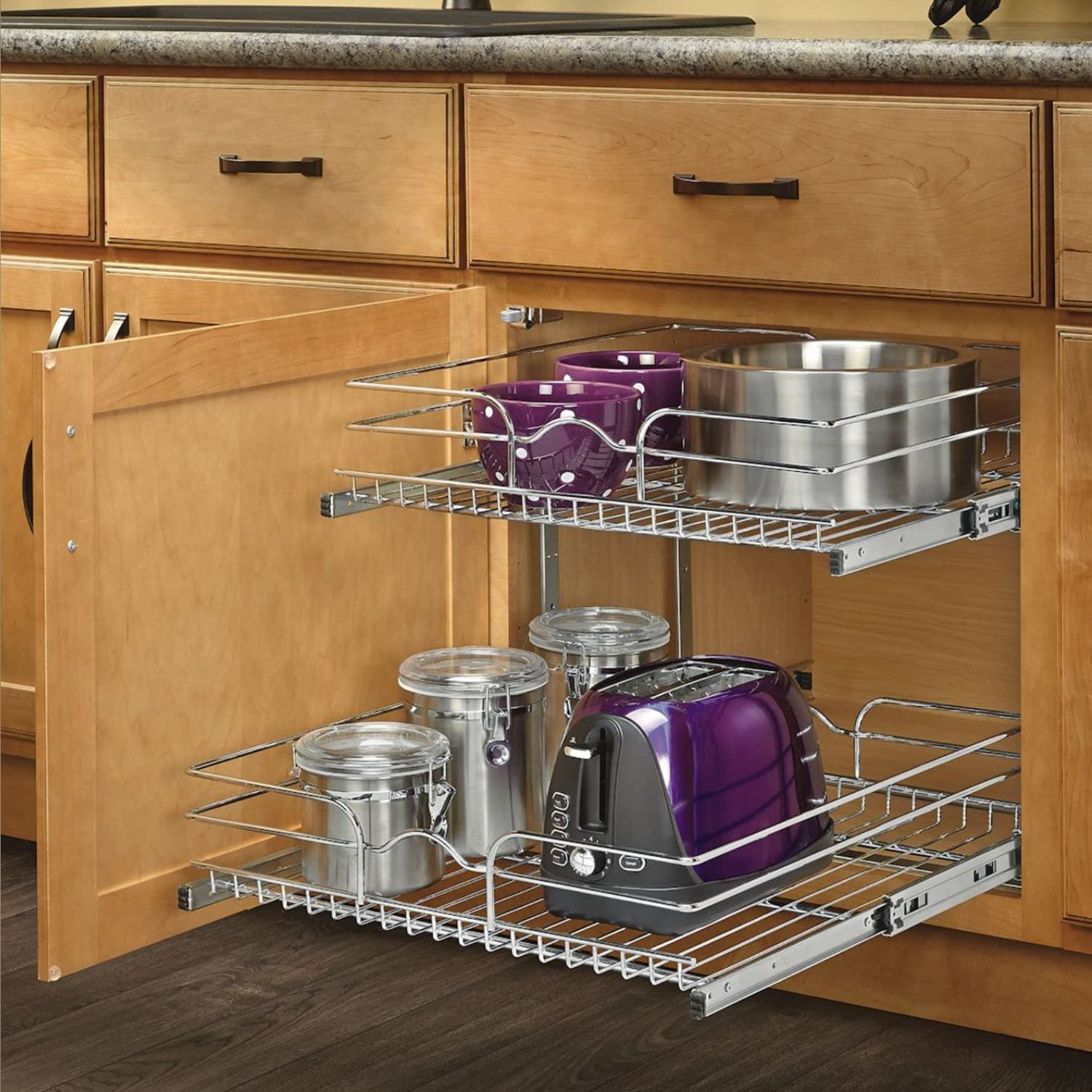 cabinet organizer h p pull basket base chrome shelf out tier x rev d a kitchen wire w in two organizers cookware cr