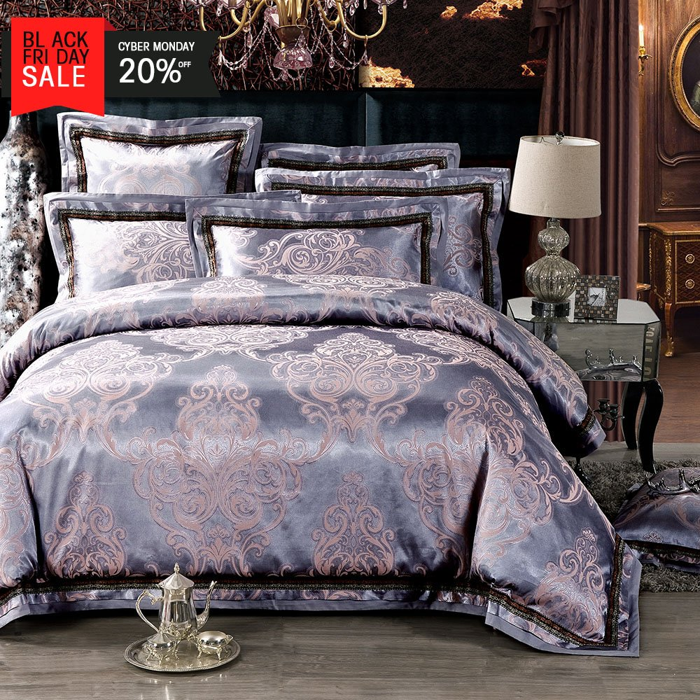 MKXI Classical European Satin Jacquard Silky Duvet Cover Set Luxury Paisley Modern Bedding King Set by MKXI