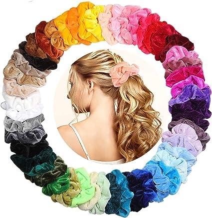 KATELUO 50 Scrunchies Terciopelo, 50 Colores Velvet Elástico Hair Scrunchies Goma de Pelo Lazo Para de, Scrunchies Velvet Elástico Bandas Para Mujeres Niñas Accesorios: Amazon.es: Belleza
