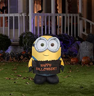 gemmy airblown inflatable bob the minion holding happy halloween sign indoor outdoor holiday decoration - Outdoor Inflatable Halloween Decorations