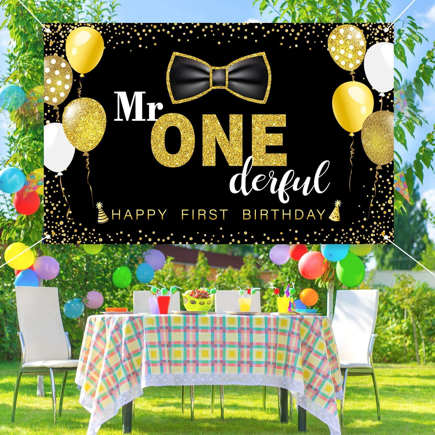 Boys 1st Birthday Mr Black Onederful Party Decoration Photography Backdrop Boy Toddler Little Man First Birthday Cake Table Decor Banner