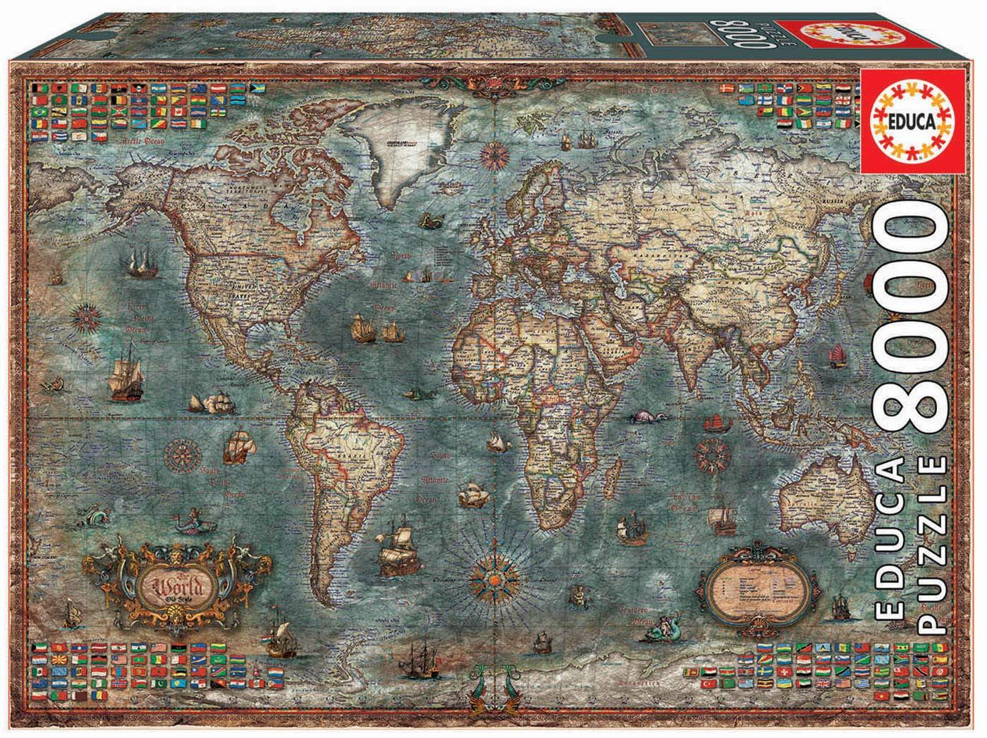 Vari/é Varié Educa Borrás 18017 Educa Borr/ás-8000 Mappemonde Historique Puzzle