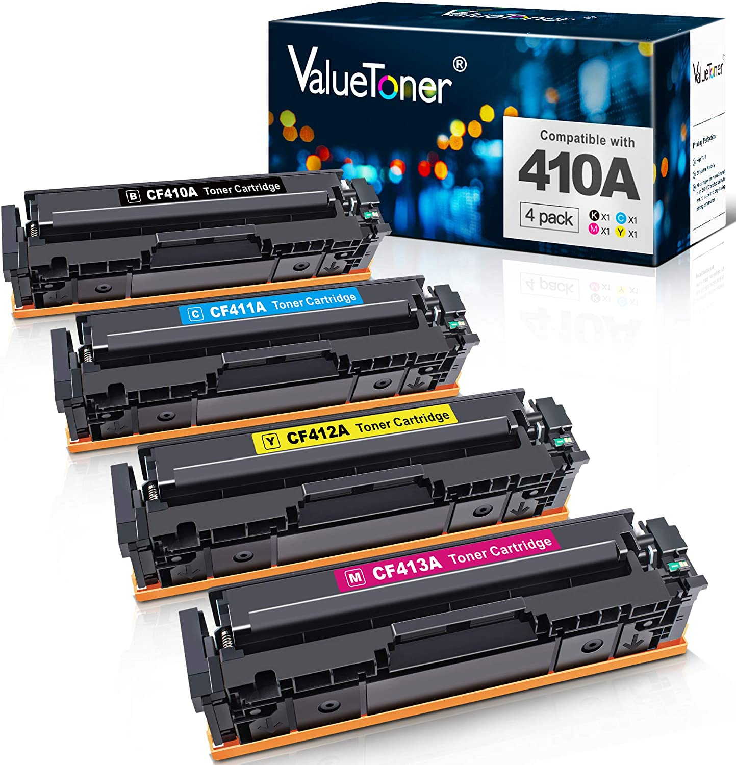 Valuetoner Compatible Toner Cartridge Replacement for HP 410A CF410A CF411A CF412A CF413A to use with Color Laserjet Pro MFP-M477fdw-M477fdn M477fnw-M452dn-M452nw M452dw M477 M452 Printer (4-Pack)