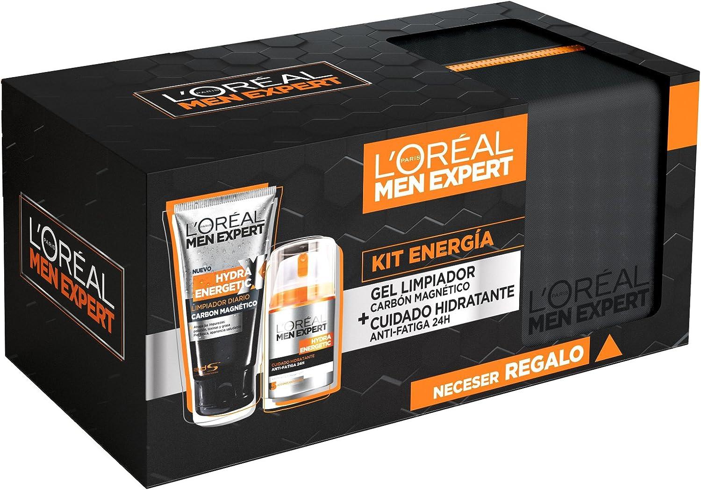 L´Oreal Men Expert Kit Energía, incluye Neceser, Limpiador Diario Carbón Magnético, Cuidado Hidratante Anti-Fatiga 24H - Limpiador 174 gr, Cuidado Hidratante 50 ml: Amazon.es: Belleza