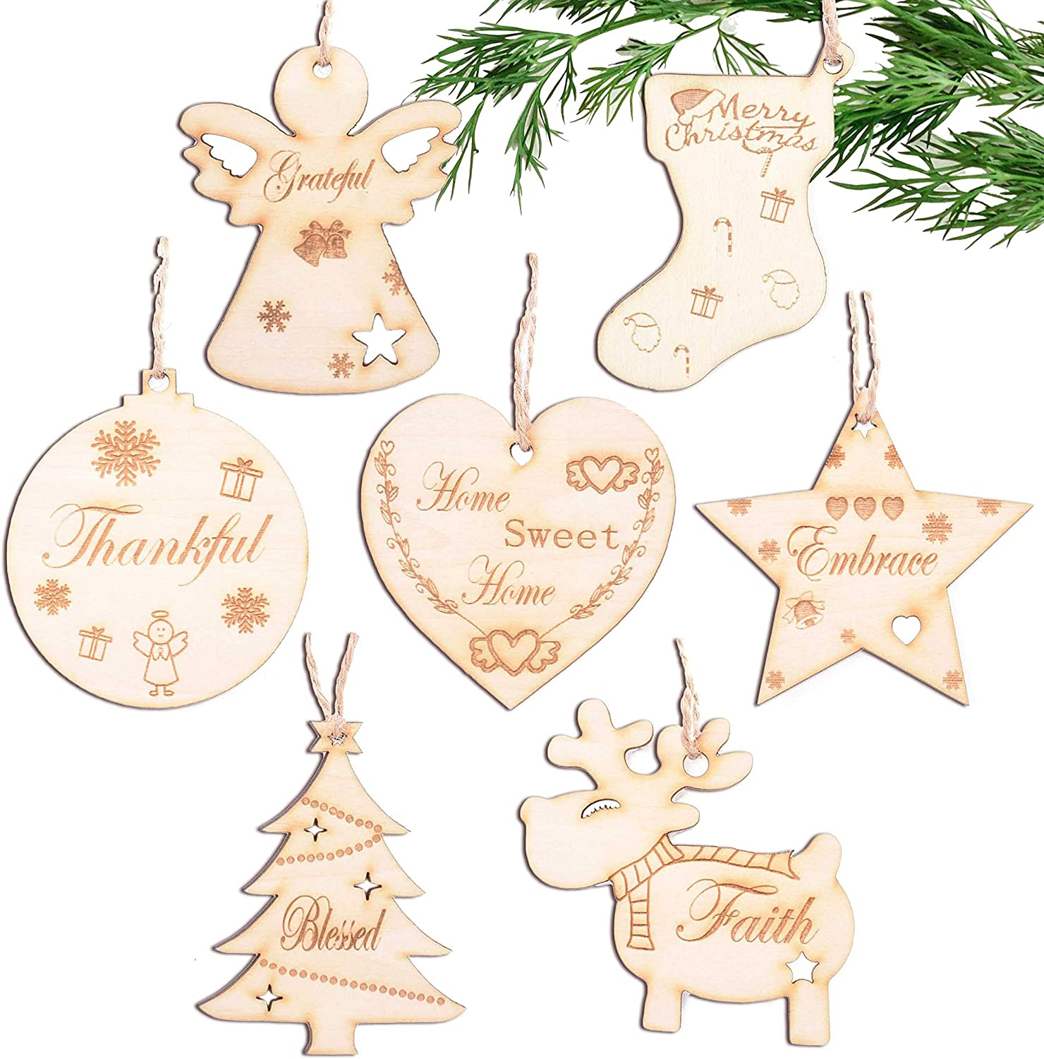 Amazon Com Wooden Rustic Christmas Ornament Set Of 7 With Laser Cut Thankful Grateful Blessed Xmas Tree Hanging Decor Farmhouse Christmas Wood Pendant For Home Kitchen Dining