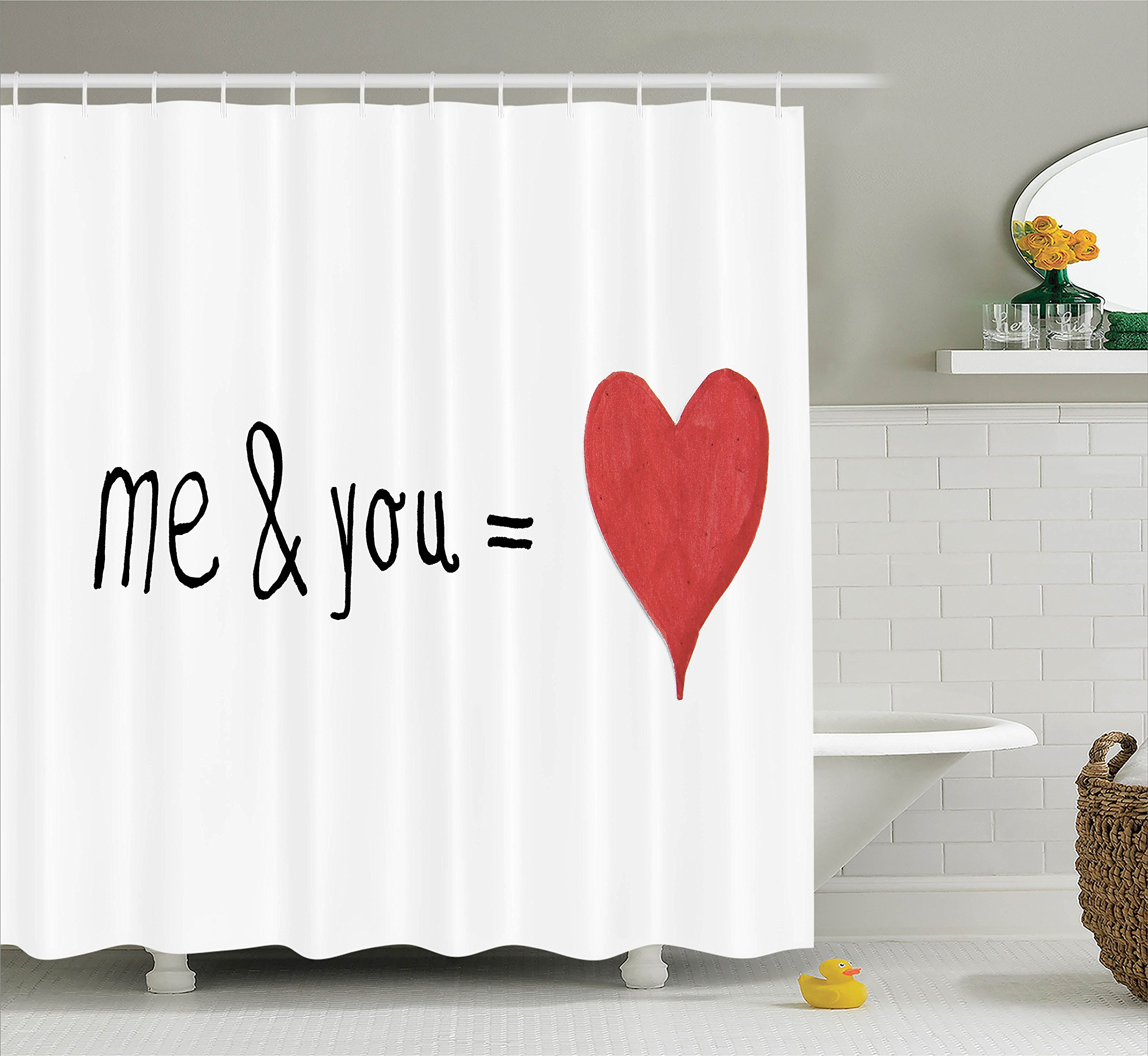 Ambesonne Love Decor Shower Curtain Set, Me and You Equal to Us Everything My World Relationship Eros Valentines Print, Bathroom Accessories, 69W X 70L Inches, Red Black White