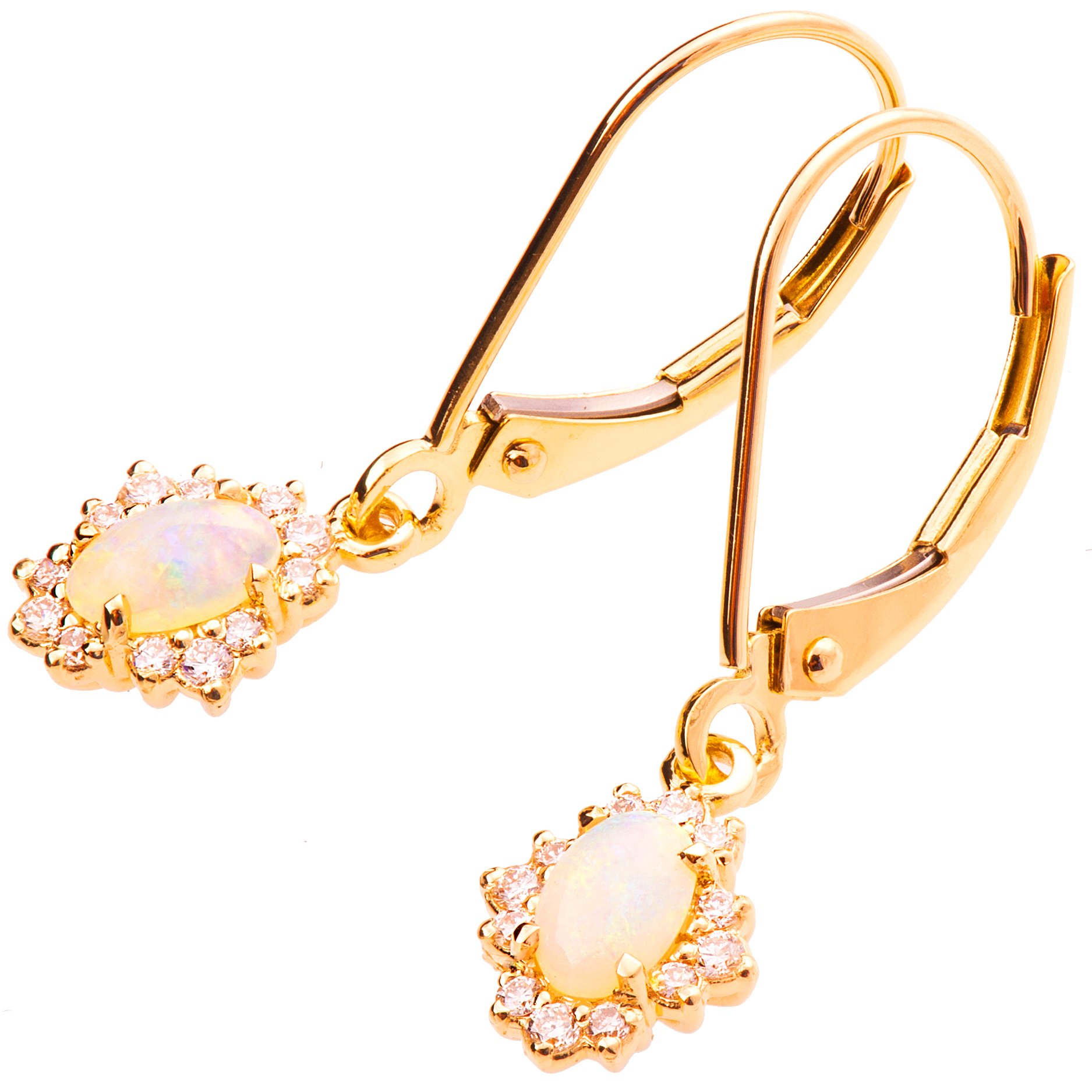 18K Rose Solid Gold Unique Opal Dangling Hang Earrings For Women Set With Diamonds and Australian Opal