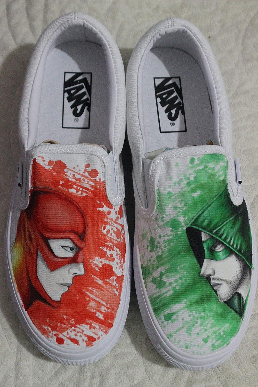 aac98144d575d9 Custom Vans Canvas Shoes Arrow And Flash Hand Painted Shoes Men Women  Slipon Unique Sneakers Canvas Sneaker Fashion Shoes for Kids Unisex Adult  Shoes  ...