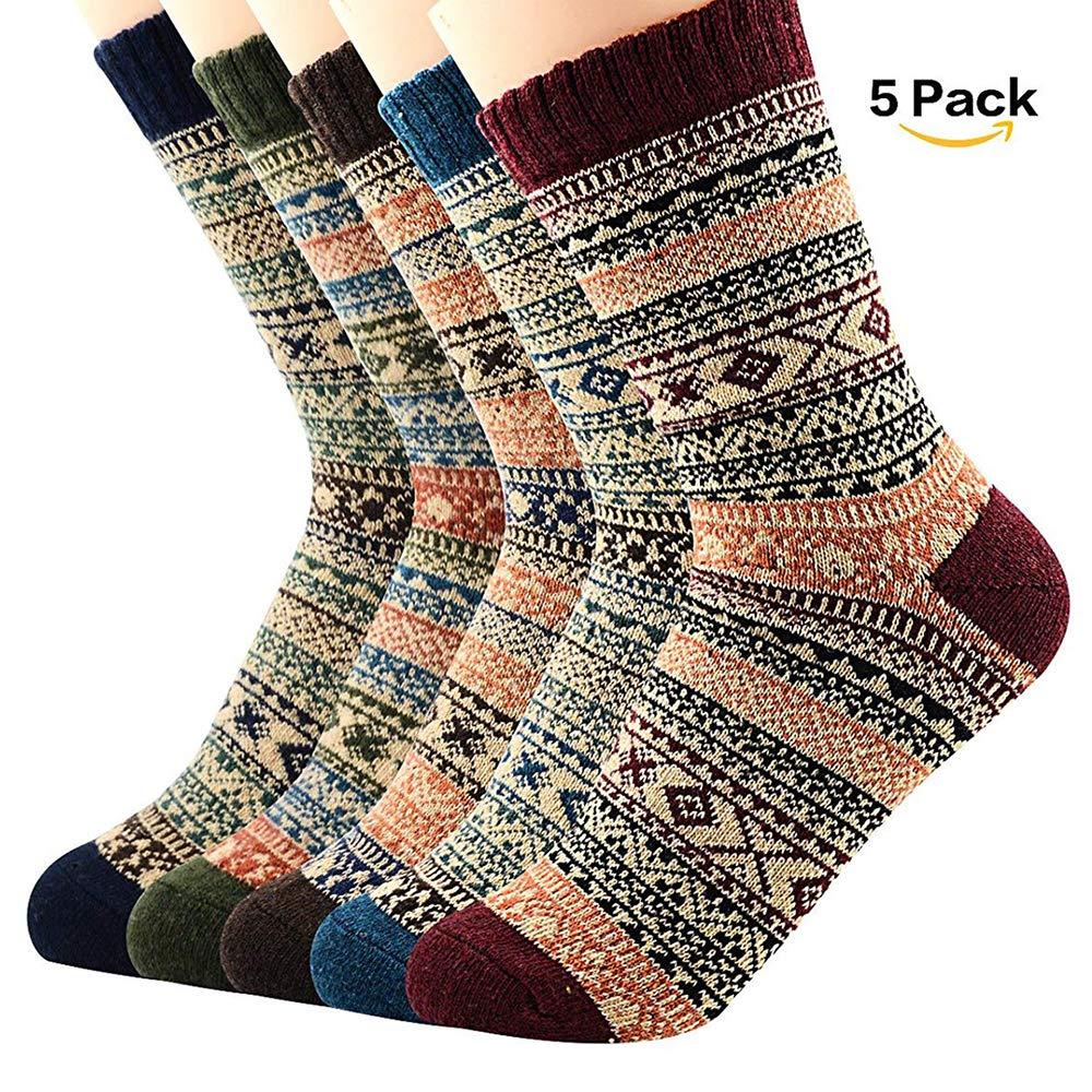 American Trends Women Vintage Wool Socks Thick Thermal Warm Winter Crew Socks ATTFJS1929S015P