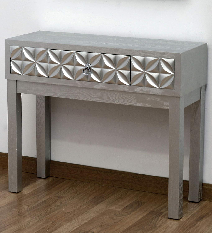 DRW Mesa recibidor Plateada con cajón Silver Flower 90x78x33 ...