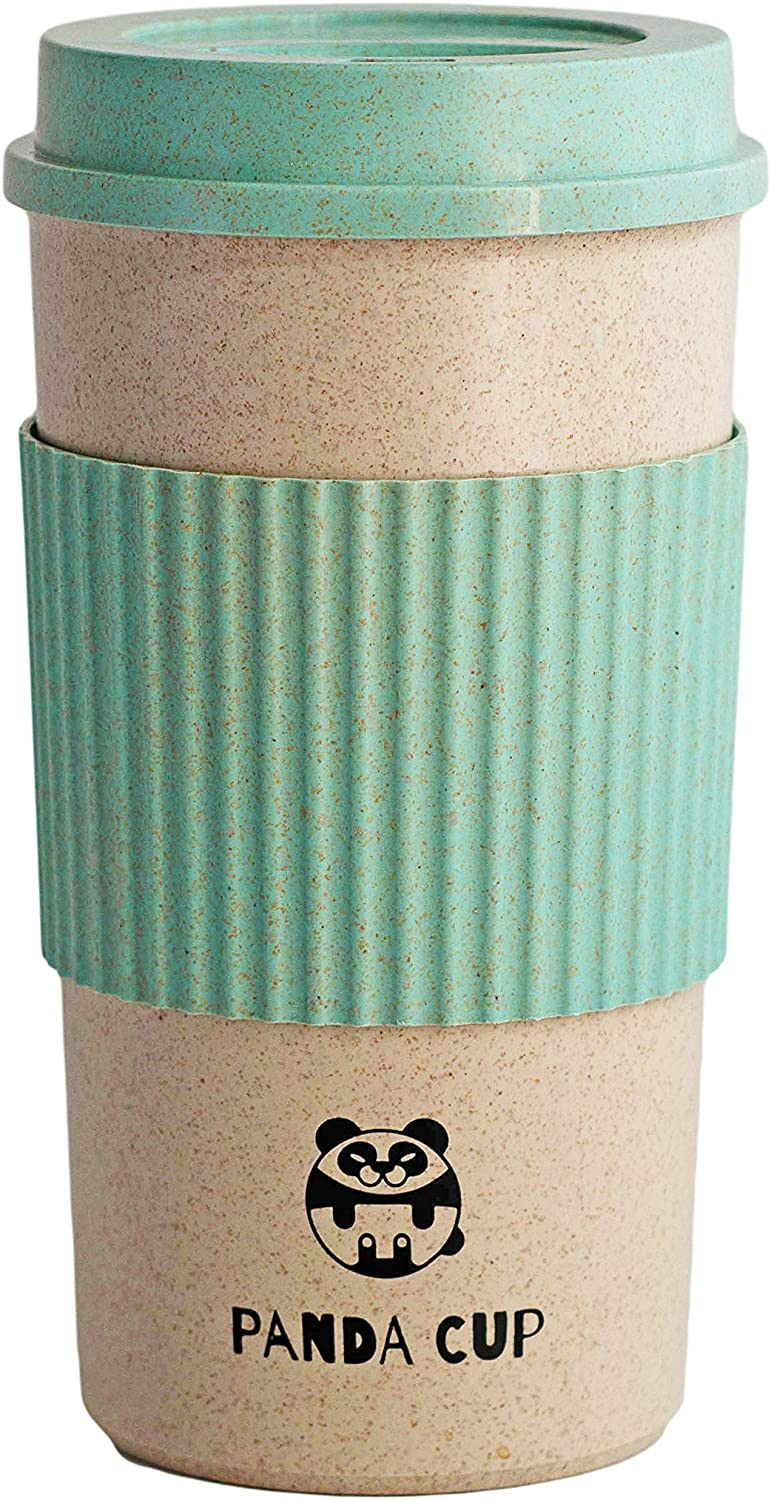 Panda Cup Eco Friendly Reusable Coffee Cup with Lid for Travel To Go Sustainable Organic Bamboo Fiber BPA Free Dishwasher and Microwave Safe Portable Eco Cup 16oz/450ml size (Blue)