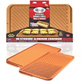 Gotham Steel Double Grill Pan – Reversible Grill & Griddle Pan, Nonstick Ceramic Grill Pan, Reversible Double Sided Griddle P