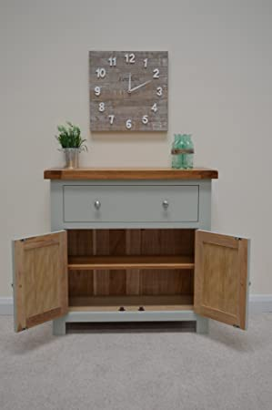 Milton Painted Mini Oak Sideboard Storage Unit Dresser WIth 2 Cupboards And 1 Large Drawer & Milton Painted Mini Oak Sideboard Storage Unit Dresser WIth 2 ...