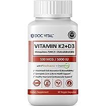 Premium Vitamin K2 (MK7) + D3 with BIOPERINE & ORGANIFLOW for Optimal Absorption ...