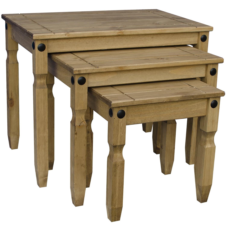 Vida Designs Corona Nest of Tables Wood Pine Amazon