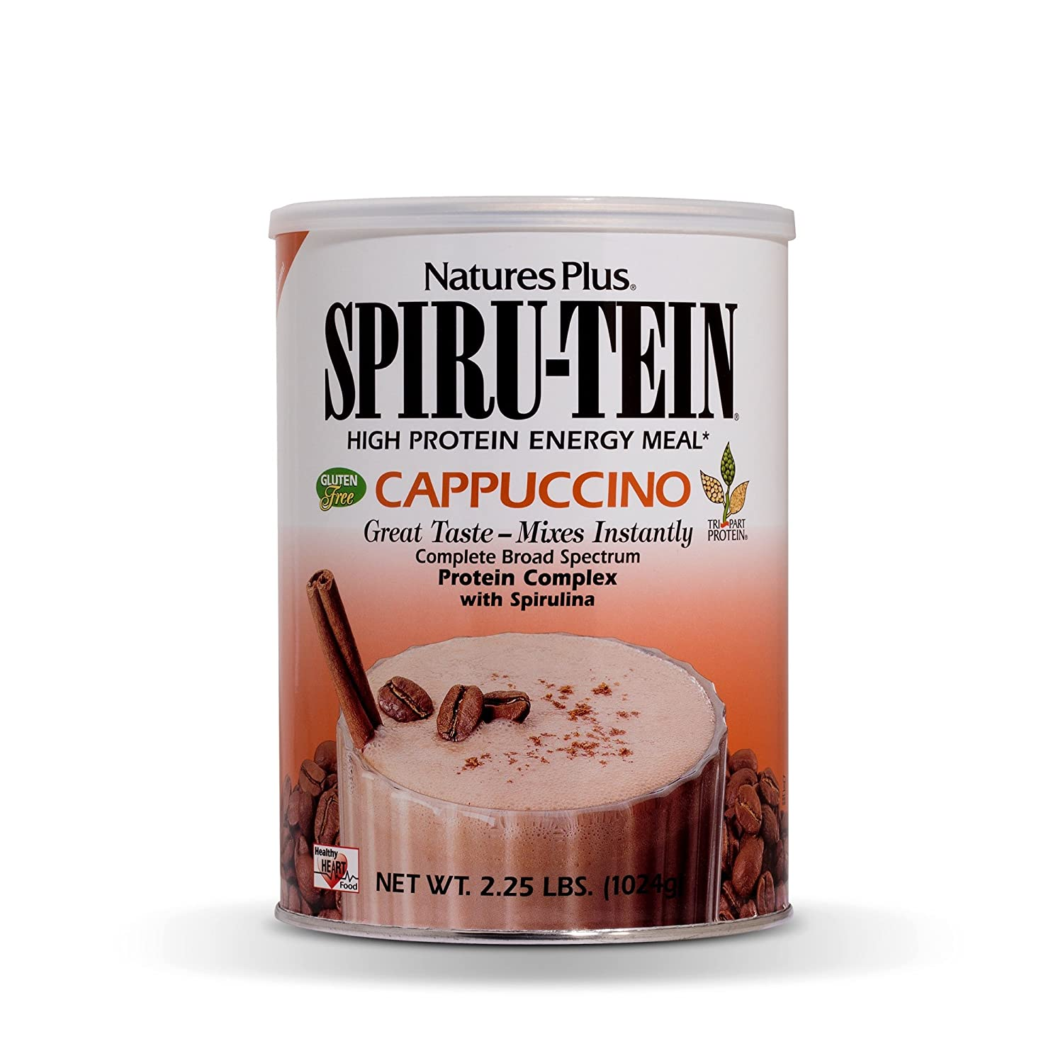NaturesPlus SPIRU-TEIN Shake – Cappuccino Flavor – 2.2 lbs, Spirulina Protein Powder – Plant Based Meal Replacement, Vitamins Minerals for Energy – Vegetarian – 32 Servings