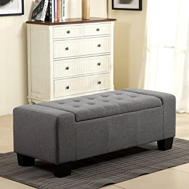 Belleze 48  Rectangular Fabric Tufted Storage Ottoman Bench, Large, Slate Grey