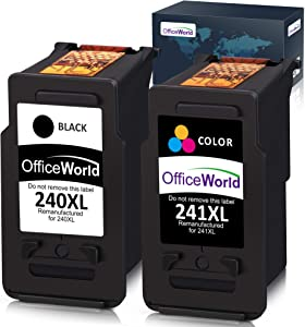 OfficeWorld Remanufactured Ink Cartridge Replacement for Canon PG-240XL 240 XL CL-241XL 241XL for Canon Pixma MG3620 MX472 MX452 MG3220 MG3520 MG2220 MX532 MX392 MX432 MX512 (1 Black + 1 Tri-Color)