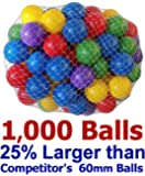 "25% Larger My Balls Pack of 1000 Large 2.5"" 65mm Ball Pit Balls by Volume; 5 Bright Colors; Crush-Proof Air-Filled; Phthalate Free; BPA Free; non-Toxic; non-PVC; non-Recycled Plastic"