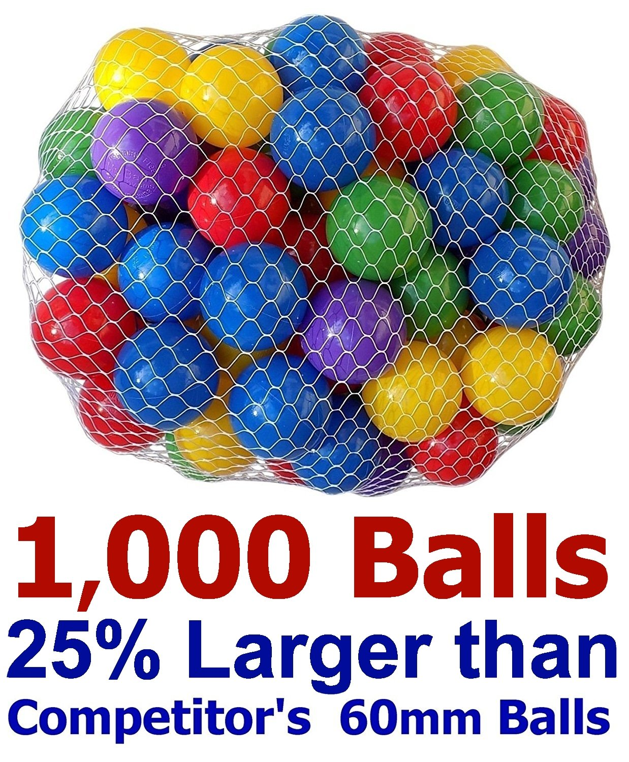 4 DAY SALE -Pack of 1000 Large 2.5'' 65mm Ball Pit Balls - 5 Bright Colors; Crush-Proof Air-Filled; Phthalate Free; BPA Free; Non-Toxic; Non-PVC; Non-Recycled Plastic( 25% Larger than 2.3'' 60mm Balls ) by My Balls by CMS