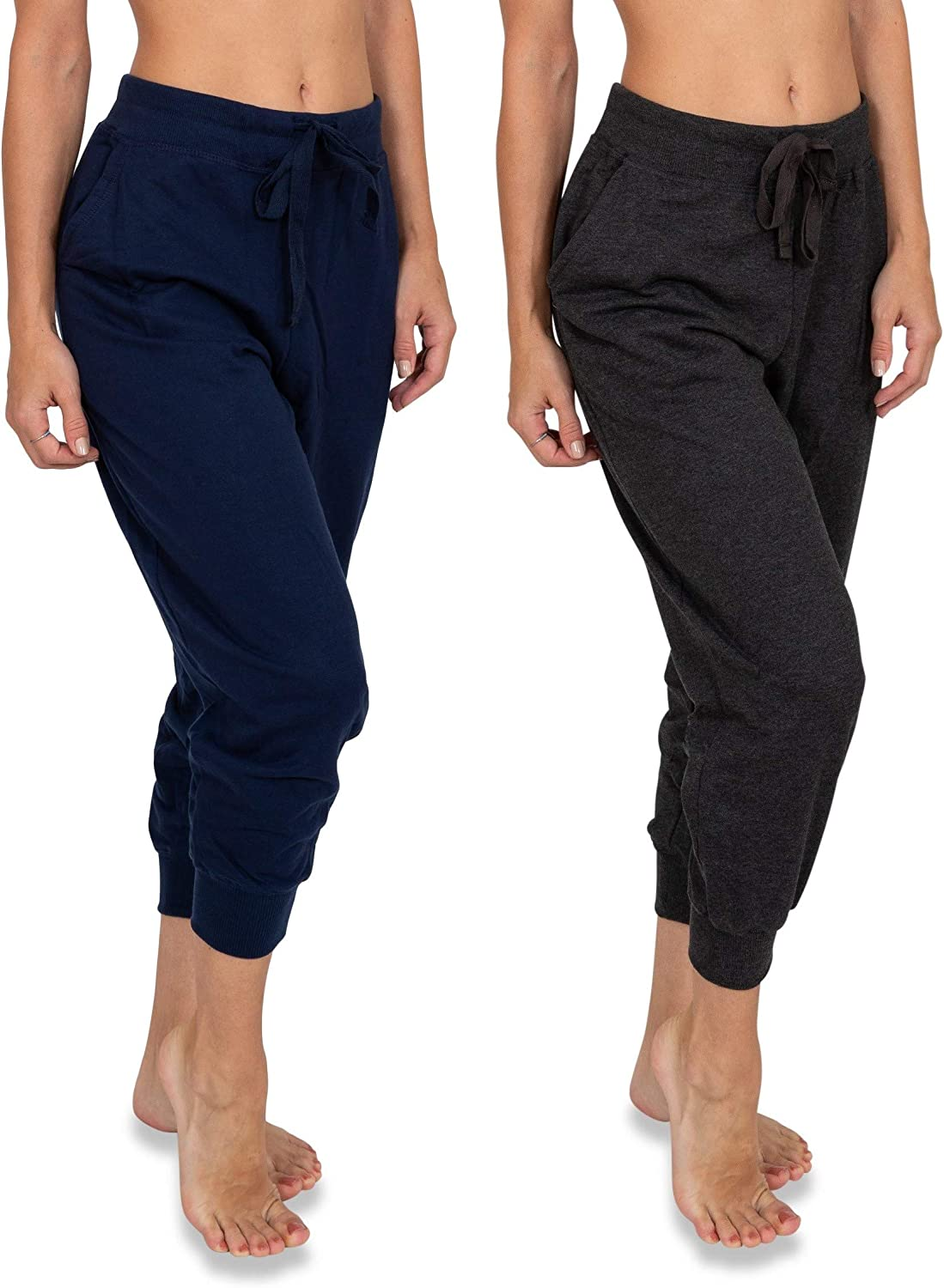 Sexy Basics Women's 2 Pack Soft French Terry Fleece Casual/Active Comfy Capri Jogger Lounge & Sweatpants
