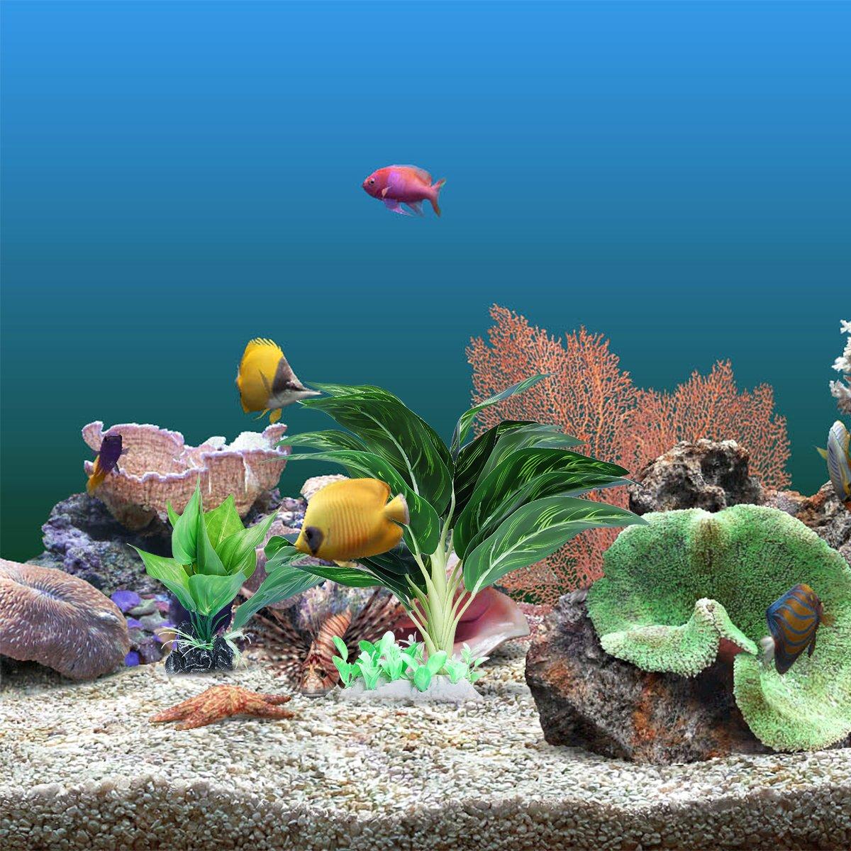 ... Plantas de acuario de plástico frondoso artificial con hojas verdes para la decoración del ornamento del tanque de peces de acuario (grande + ...