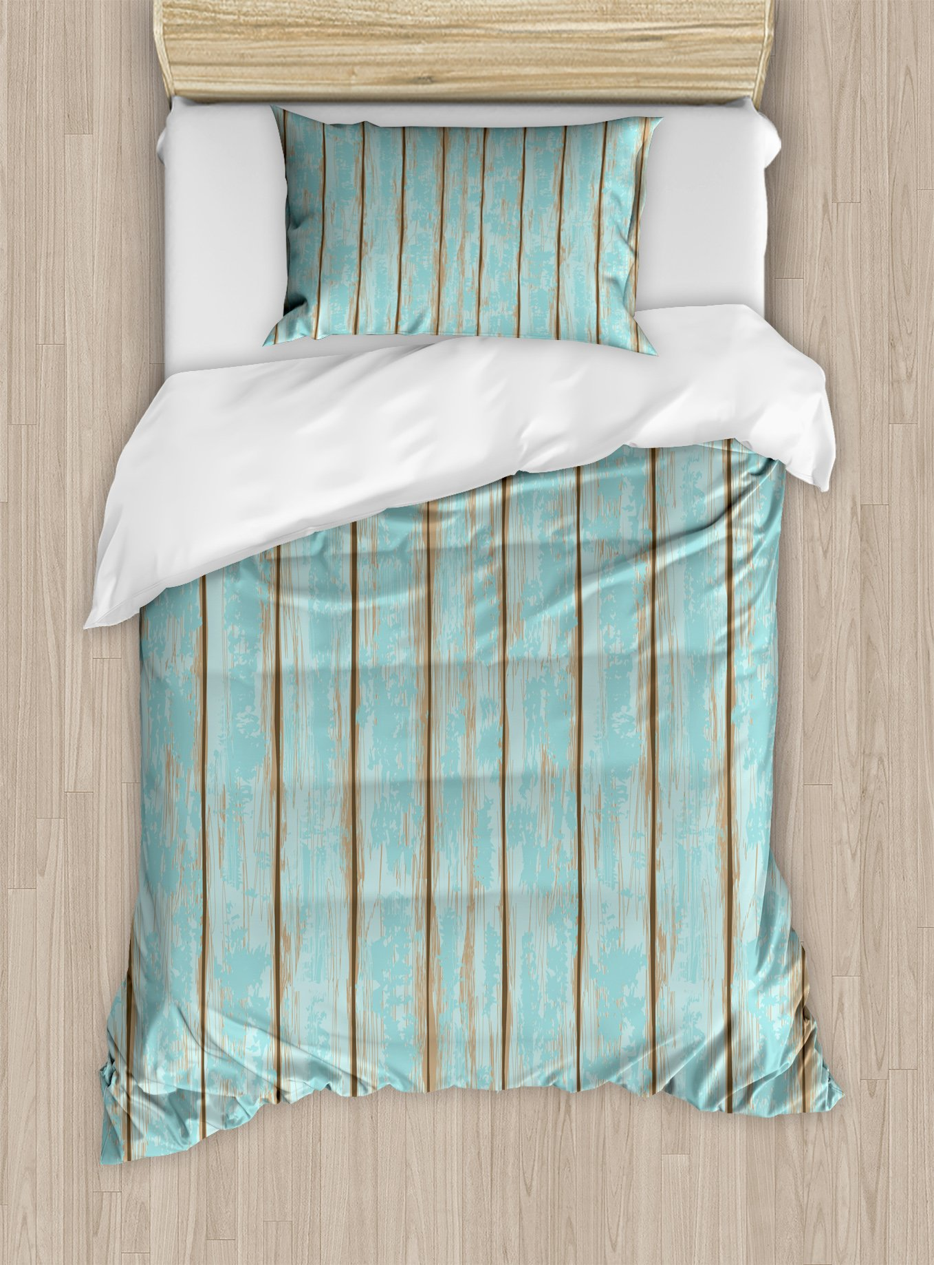 Lunarable Wood Print Twin Size Duvet Cover Set by, Old Fashioned Weathered Rustic Planks Summer Cottage Beach Coastal Theme, Decorative 2 Piece Bedding Set with 1 Pillow Sham, Pale Blue Tan