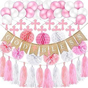 Baptism Decorations for Girls God Bless Banner Cross Swirl Pink Paper Honeycomb Tassel Pom Pom Balloons for Baby Shower First Communion Christening Wedding Birthday Decorations