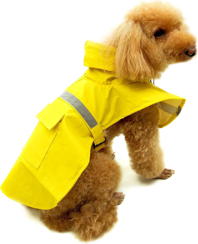 Nelly Tilly Dog Raincoat Pocket XL, BLUE Adjustable belt Pet Waterproof Lightweight Rain Jacket Poncho Clothes with Reflective Strip