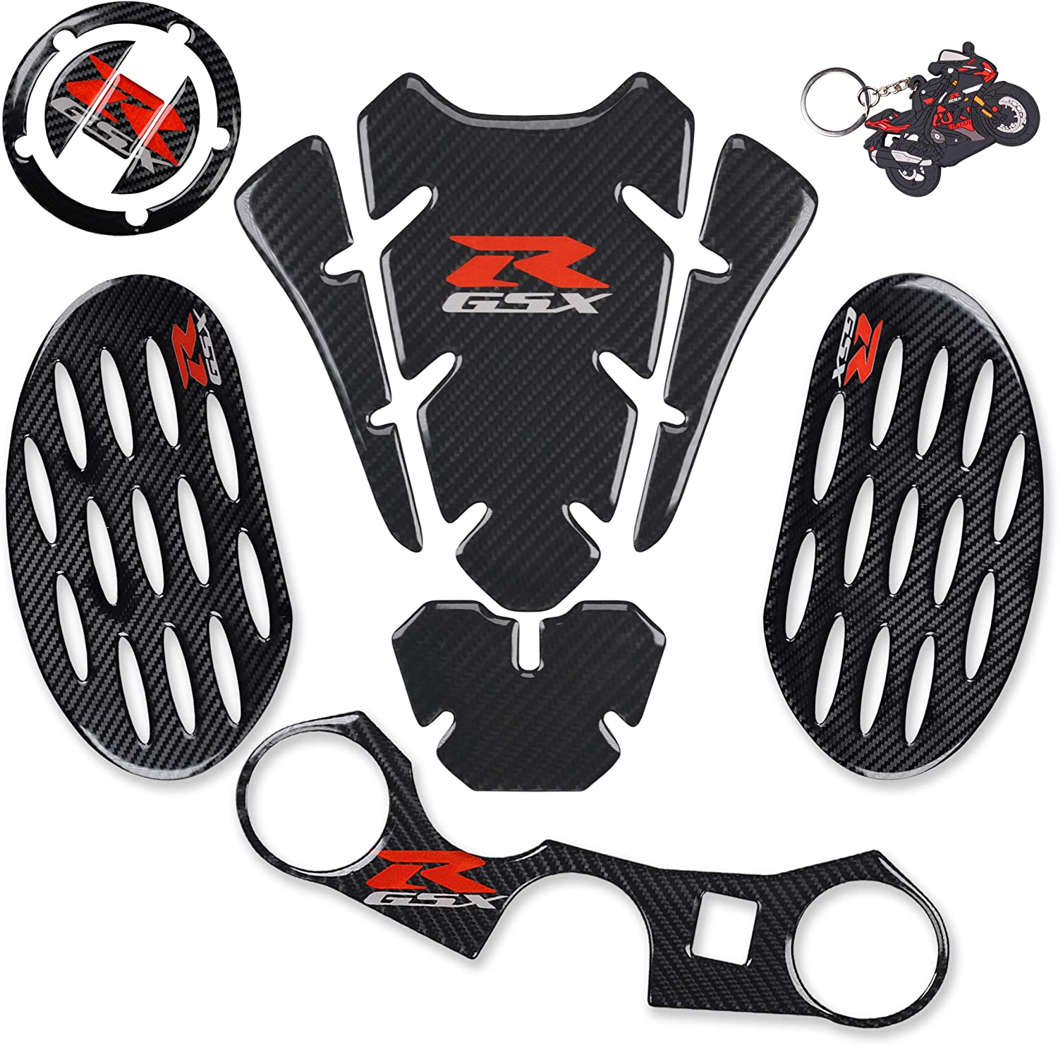 Tank Pad Triple Tree Front End Upper Top Clamp Decal Stickers,Tank Protector with Keychain for GSXR 600 GSXR 750 GSXR 1000 K6 K7 K8 K9 L1 2006-2017 REVSOSTAR Real Carbon Look Gas Cap 6Pcs Per Set