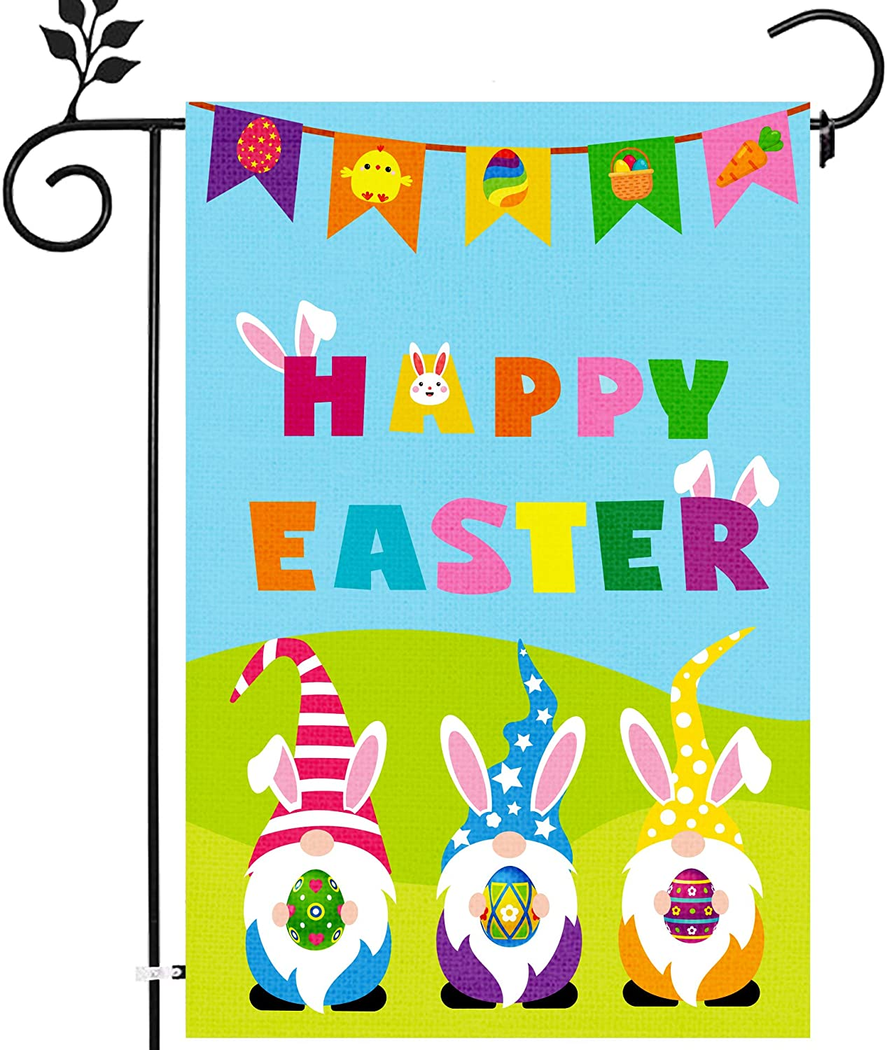 HOORAYC Easter Gnome Garden Flag Happy Easter Garden Flag 12x18 Double Sided Easter Garden Flag for Outside Yard Decorations