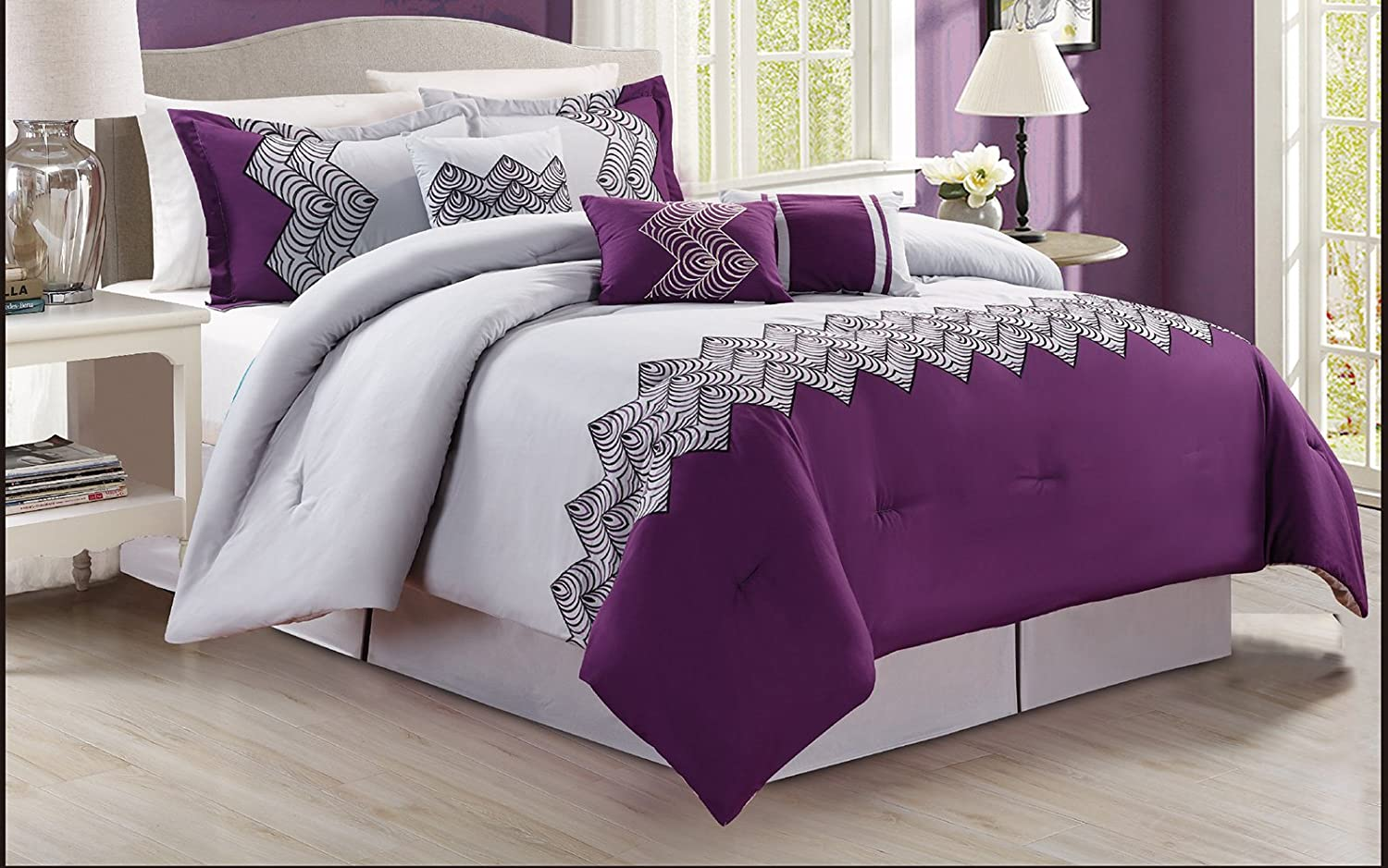 Purple Grey Black Floral Emboidered QUEEN Comforter Set