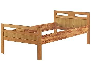 Massivholzbett Seniorenbett Buche Natur 90x200 Einzelbett Hohes Bett