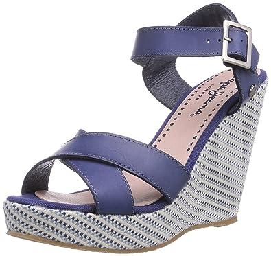 Pepe Jeans London WALKER TEXTIL, Damen Plateau Sandalen mit Keilabsatz,  Blau (575NAVAL BLUE 68684fb084