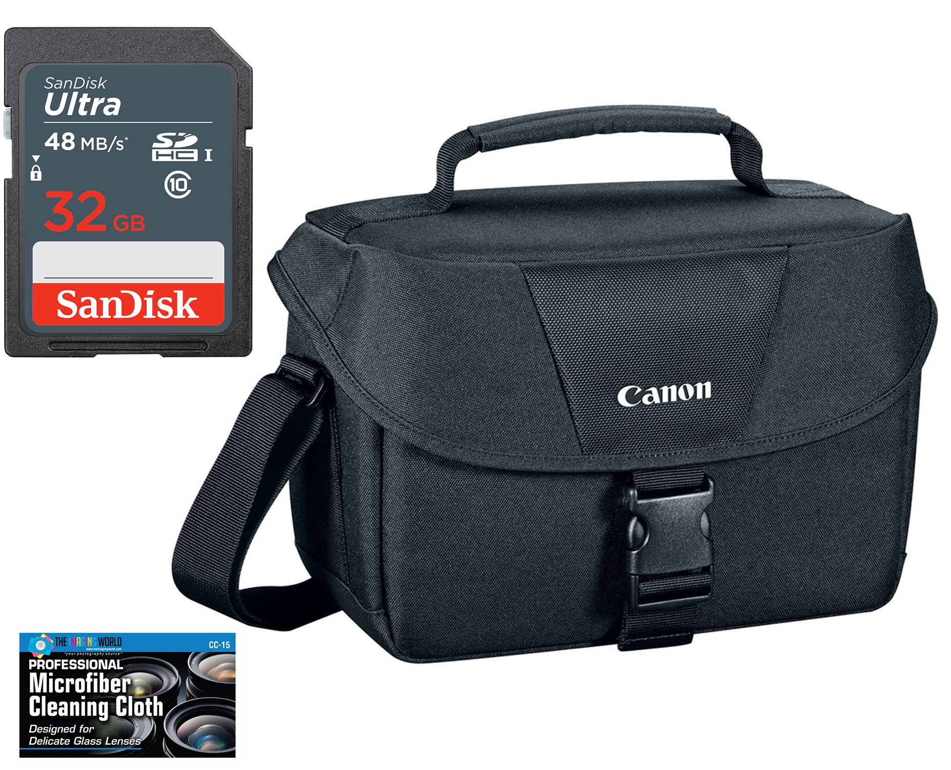 Canon 100ES Well Padded Multi Compartment Compact Digital SLR EOS Rebel Camera Gadget Case + SanDisk 32GB High Speed Memory Card +Cleaning Cloth for 77D, T6s, T7i, T6i, T5i, SL1, T6, T5, 70D, 80D & 6D