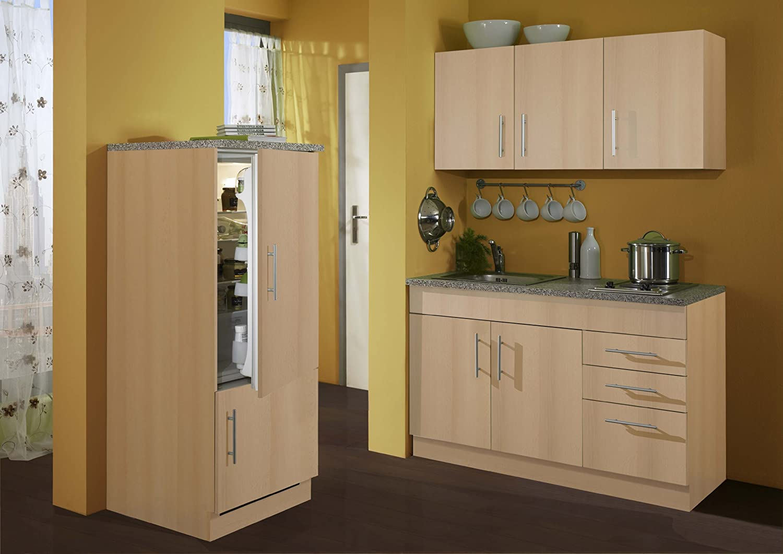 Held Möbel 977.6510 Single-Küche 180 mit 2-er E-Mulde und Kühlschrank mit Gefrierfach, buche