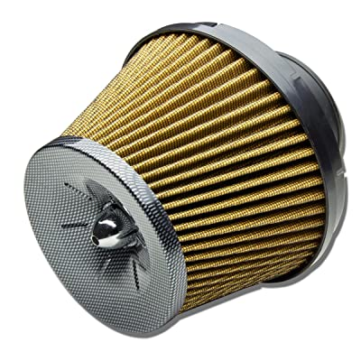 """3"""" Inlet x 7"""" Air Intake Cone Rubber Air Filter (Yellow)"""