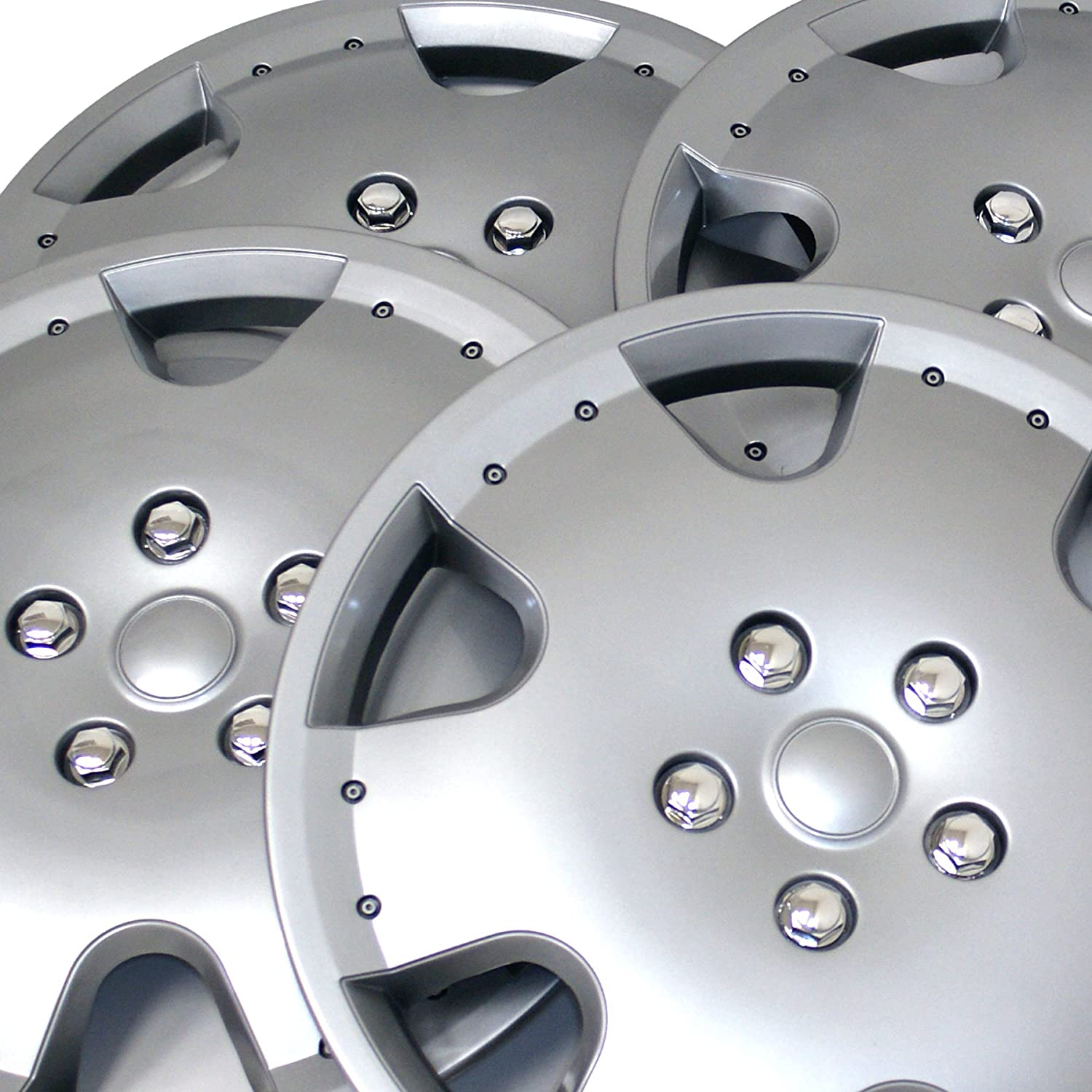 Pop-On 15-Inches Metallic Silver Hubcaps Wheel Cover TuningPros WSC3-720S15 4pcs Set Snap-On Type