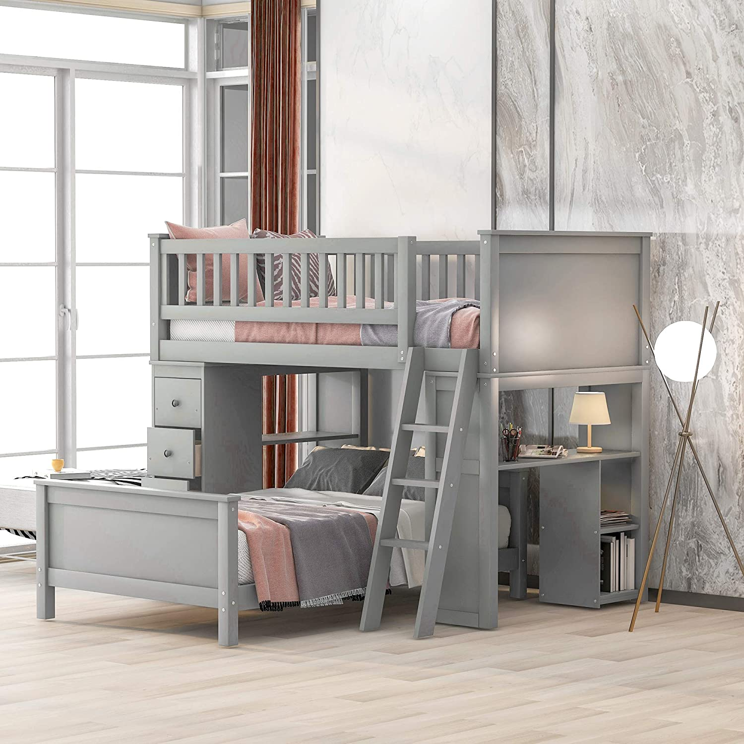 Merax Twin Over Twin Loft Bed Bunk Bed with Drawers and Shelves, Twin Bed Set with Desks,Gray