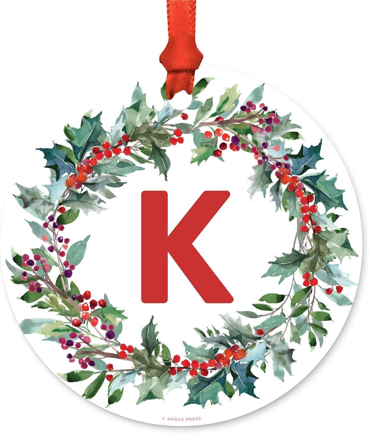 Andaz Press Family Christmas Ornament Metal Red Green Holiday Wreath Monogram Letter K 1 Pack Includes Ribbon And Gift Bag Kitchen Dining Amazon Com