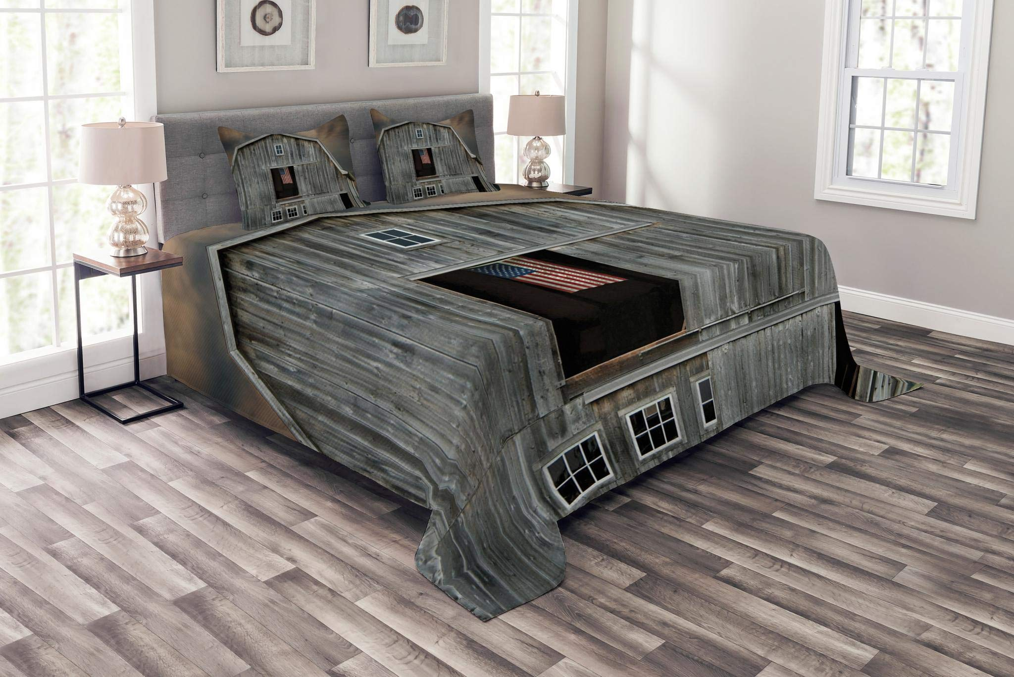 Lunarable American Flag Bedspread Set Queen Size, American Flag Flying in Hayloft Window Wooden Old House Dark Evening View, Decorative Quilted 3 Piece Coverlet Set with 2 Pillow Shams, Grey Tan Black
