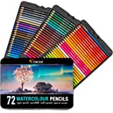 72 Watercolor Pencils Professional, Numbered, with a Brush and Metal Box - 72 Water Color Pencils for Adults and Adult Coloring Books - Watercolor Pencil for Kids, Colored Pencils, Art Set