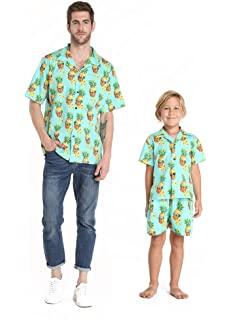 a61af64b Matching Father Son Hawaiian Luau Outfit Men Shirt Boy Shirt Shorts Classic  White Flamingo