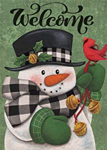 Covido Home Decorative Welcome Winter Garden Flag, Merry Christmas Snowman House Yard Buffalo Plaid Check Cardinal Bird Decor, Xmas Outside Decorations Seasonal Outdoor Small Flag Double Sided 12 x 18