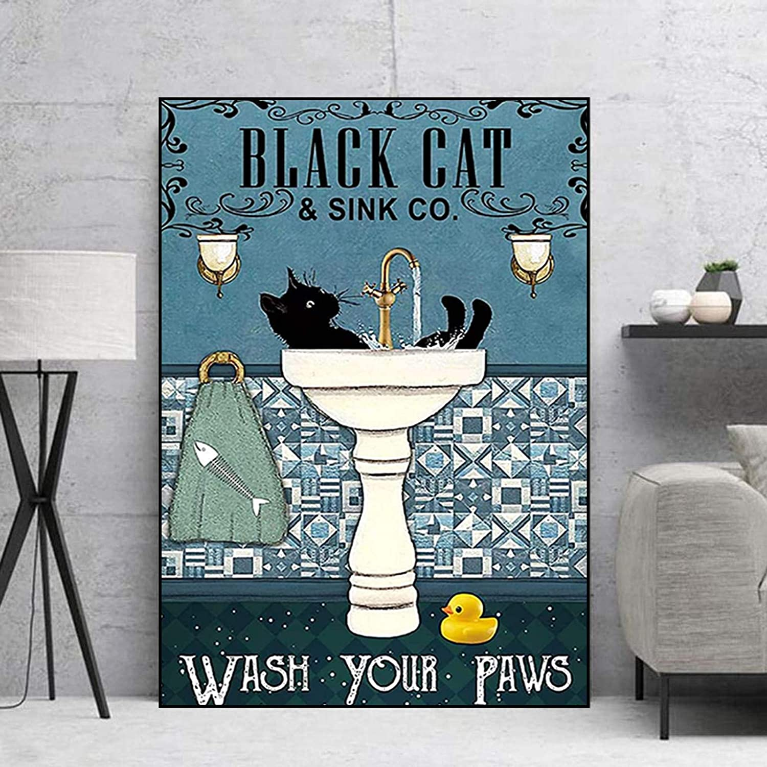 Black Cat Poster Wash Your Paws Poster Bathroom Funny Canvas Wall Art Black Cat Funny Art Picture Black Cat Poster Wash Your Paws Canvas Poster Wall Art Home Wall Decor Vertical No Frame