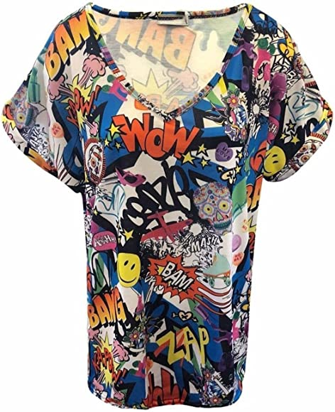 New Womens Baggy Oversized Top Ladies Turn Up Cap Sleeve  Plus Size Tee T Shirt