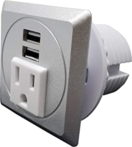 """Desktop Power Grommet Outlet Data Center, 2""""- 2.5"""" Hole No Drilling Required, 1 Outlet W/ 2 USB Charging (Silver - Square - Fit 2"""" - 2.5"""" Hole -DC-8189)"""