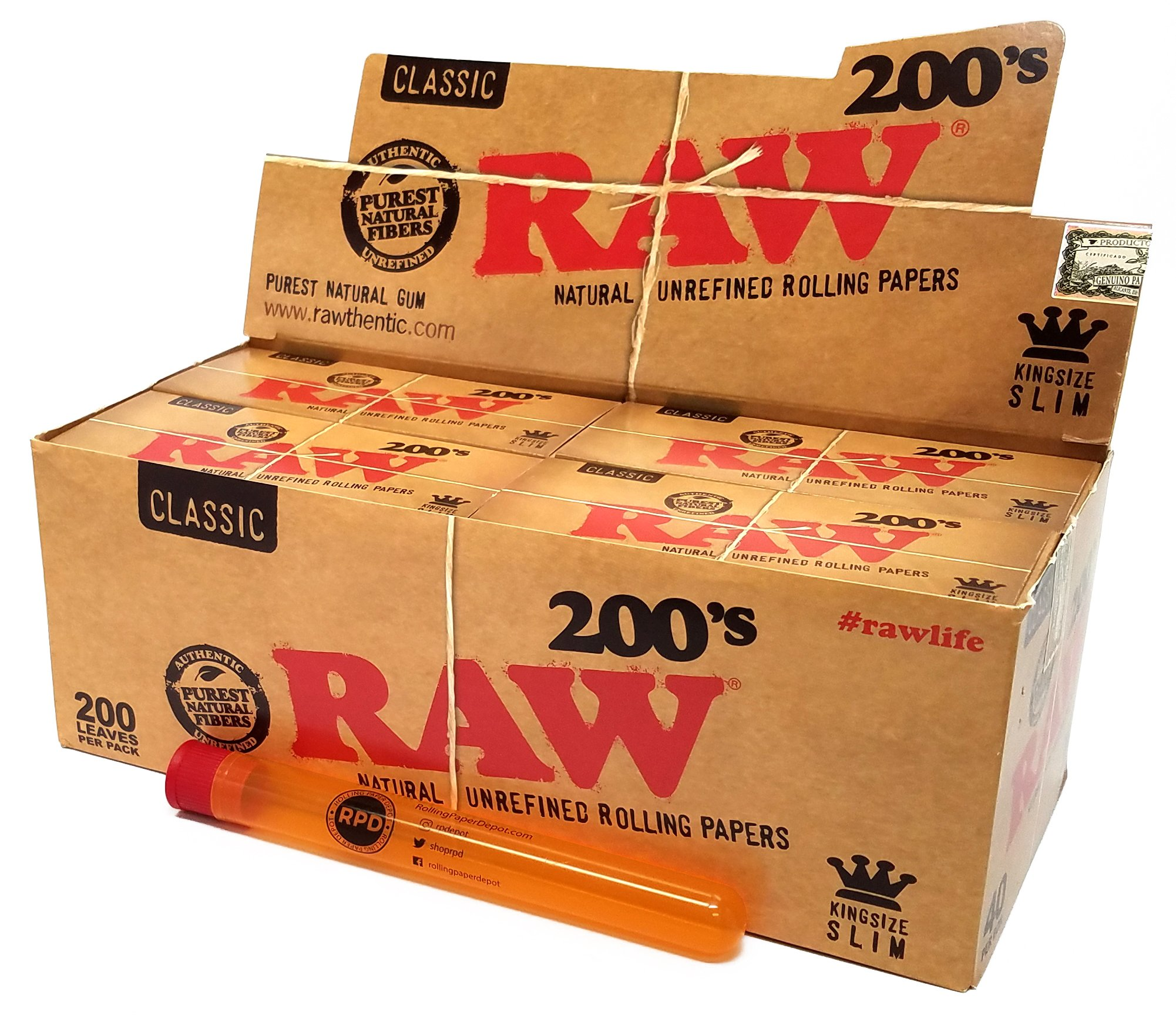RAW King Size Slim 200 (40 Packs/Full Box, 8000 Papers) with XL Rolling Paper Depot Doob Tube