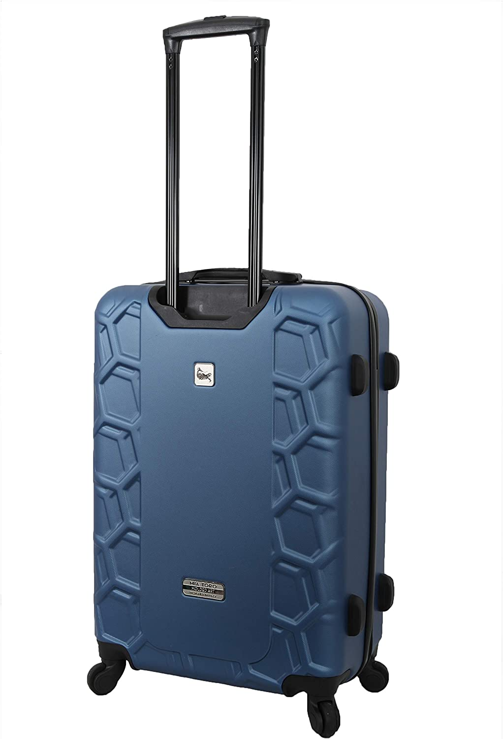 Mia Toro Italy Molded Art Hive Hard Side Spinner Carry-on Blue