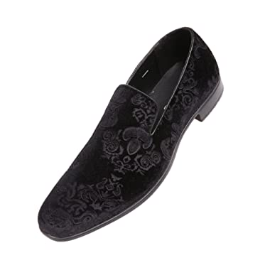 Bolano Mens Dress Shoes Velvet Smoking Slippers in Paisley and Embossed Designs, Style Prince